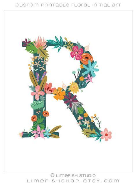 printable floral initial monogram  limefishshop  etsy  sweet floral monogram designs