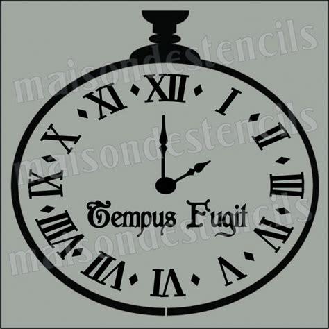 clock roman numerals tempus fugit  stencil