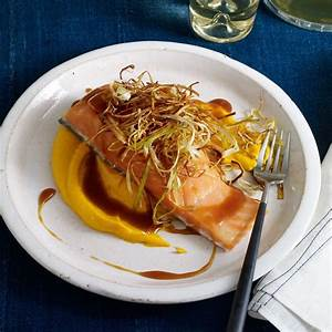 Slow-Roasted Salmon with Soy-Caramel Sauce, Carrot Puree ...