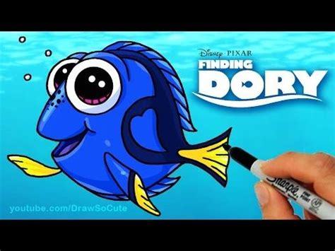 draw dory step  step cute  disney finding