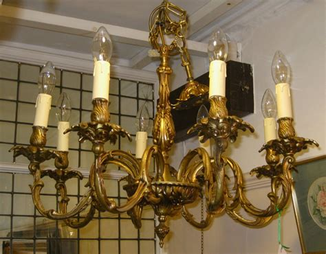 an early 20thc eight arm brass chandelier 251447