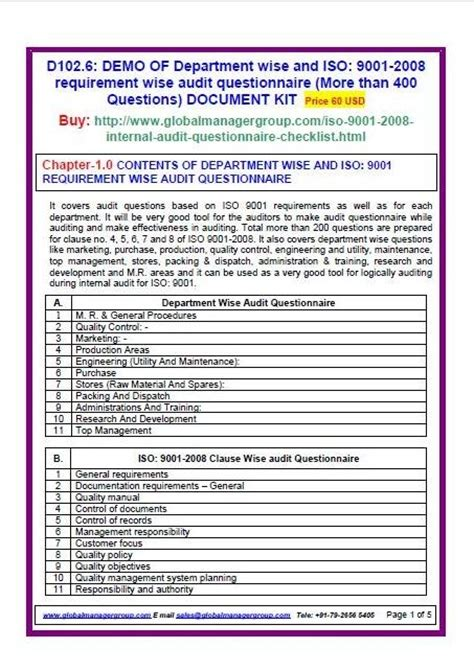 Audit Manager Questions by Iso 9001 2008 Audit Checklist For Quality Management