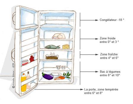 rangement des aliments selon les zones de froid de votre frigo de surveillance