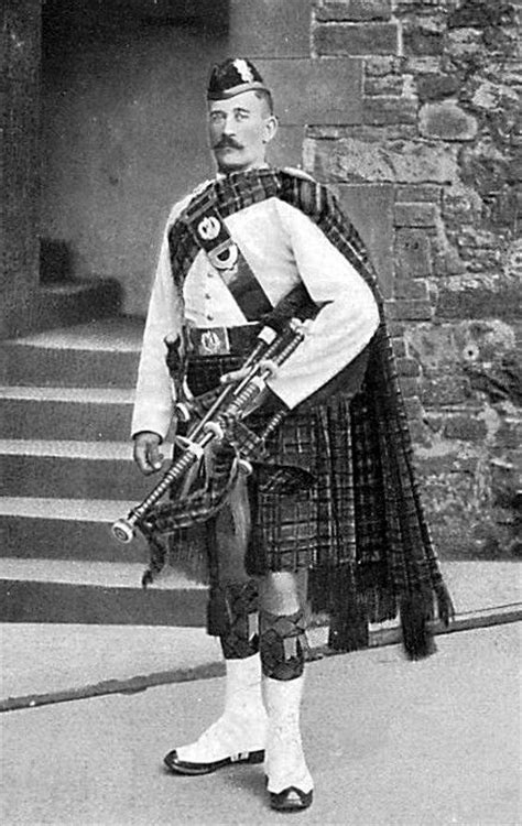 Old Photograph Of A Black Watch Piper In Perth, Perthshire