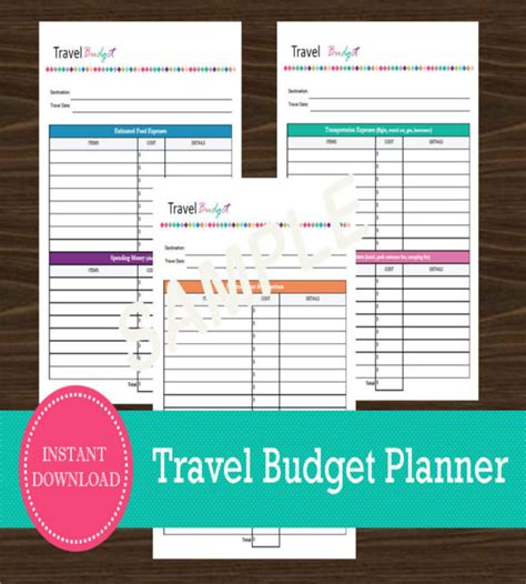 travel budget templates  sample  format