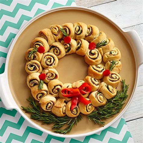 cresent roll christmas tree with spinach cheesy spinach pinwheel wreath recipes pered chef