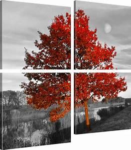 Bilder Natur Leinwand : bilder roter baum wandbilder landschaft bild auf leinwand natur kunstdruck ebay ~ Markanthonyermac.com Haus und Dekorationen