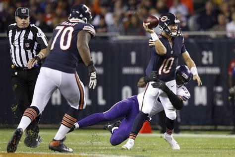 bears vikings final score  mitchell trubisky leave