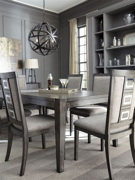 dining table with grey chairs chadoni gray rectangular extendable dining table from