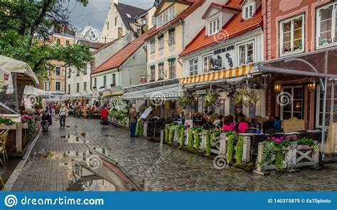 RIGA LATVIA AUG 2018 Evening View Of The Street Cafes In ...