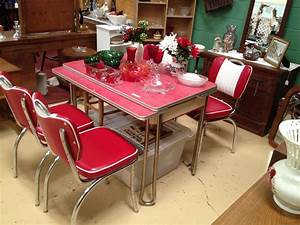 Retro laminate table red original formica dinette 2017 for Furniture for kitchen diner