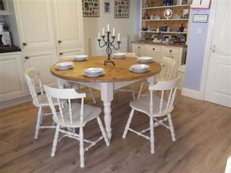 vintage large farmhouse table and 6 oak chairs