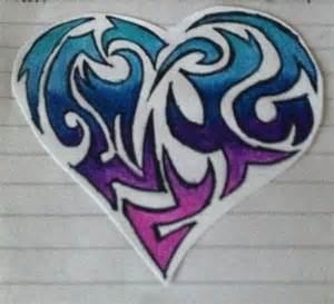 Cool Easy Tribal Heart Drawings