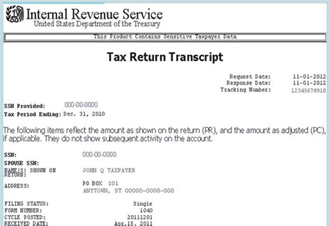 tax return an irs tax return transcript