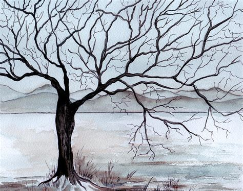 Original Shower Curtains by Winter Tree Painting By Brenda Owen