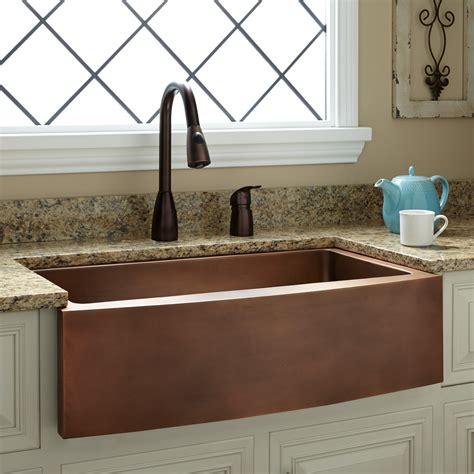 copper kitchen faucet 33 quot kiana curved apron copper farmhouse sink kitchen