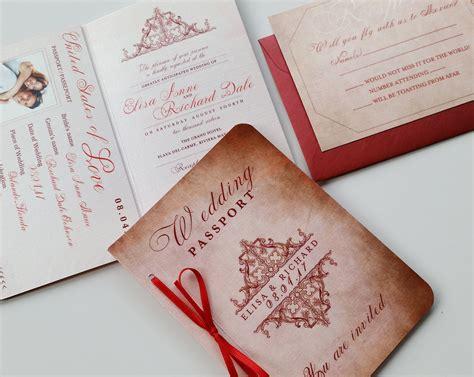 Passport Wedding Invitation Destination Royal