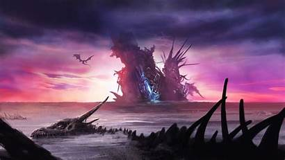 Fantasy Dragon Skeleton Sky Dark Wallpapers Graveyard