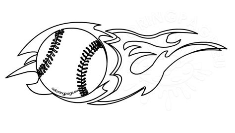 flaming baseball clipart black  white coloring page