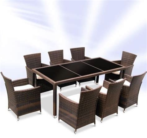 rattan dining table and 8 chairs set brown