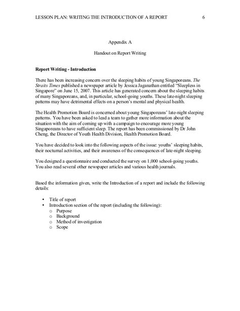 lesson plan report writing