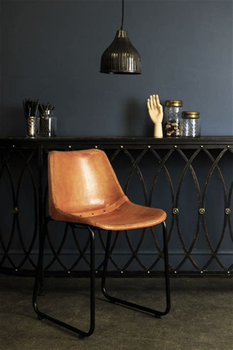 objects  design  industrial leather dining chair