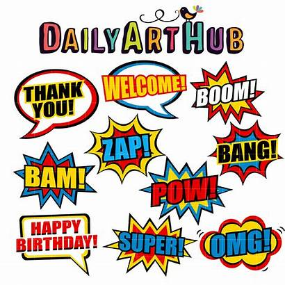 Pop Comic Clipart Clip Superheroes Heroes Phrases