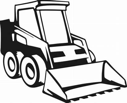 Skid Bobcat Loader Clipart Steer Drawing Construction