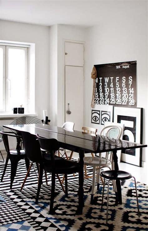 comedores decorados en blanco  negro decoracion