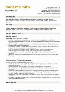 Banker Resume Objective Phone Banker Resume Samples Qwikresume