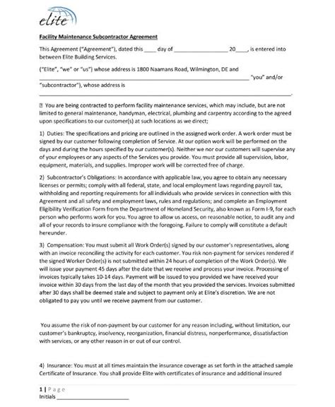 subcontractor agreement examples  word examples