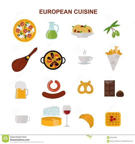 european cuisine top view showing european food and delicious elements flat