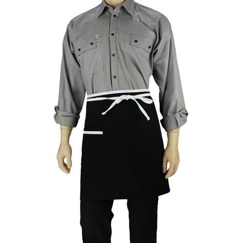 tablier cuisine noir tablier de cuisine à la taille noir avec liseré blanc