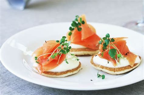 creme fraiche cuisine mini pikelets with smoked salmon and creme fraiche