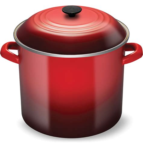 le creuset enameled steel stock pot  quart cherry red cutlery