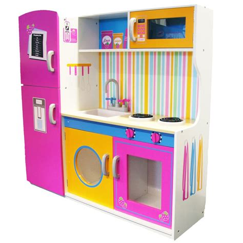 Childrens Wooden Toy Kitchen Unit Role Play Kids Microwave