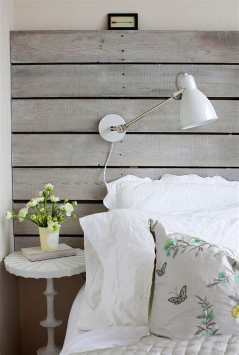wood plank headboard cottage bedroom  cross decor