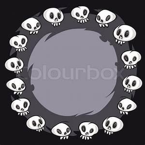 Cartoon Skulls Round Frame  In The Eps