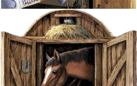 horse stable door peel  stick wall mural kids