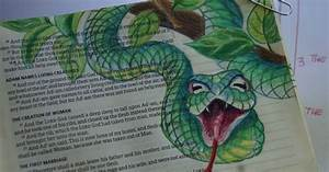 Close up of the serpent that deceived Eve (colored pencil ...