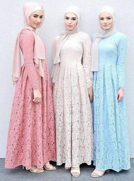 model gamis brokat pesta kombinasi polos modern model baju muslim terbaru