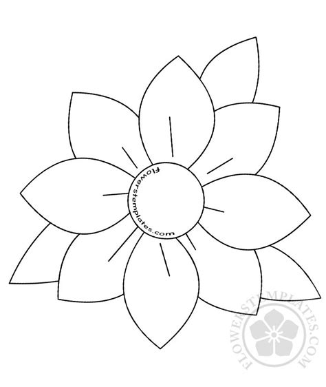 Flower Template Large With Leaves Template Flowers Templates