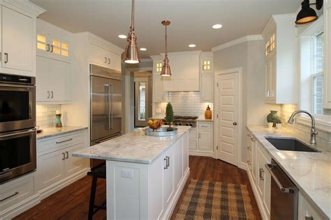 narrow kitchen island white marble counter cabinet great