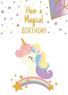 happy unicorn birthday card   print  send