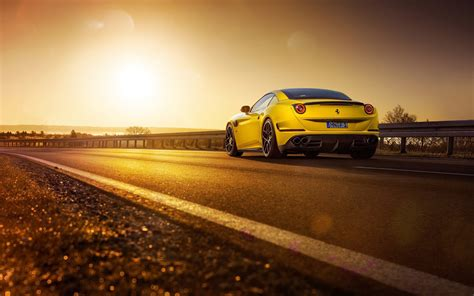ferrari california  novitec rosso car road sunset