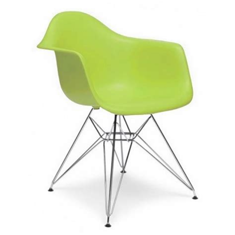 eames style dar molded lime green plastic dining armchair