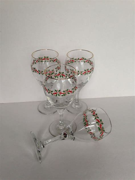 Christmas Holiday Water Wine Glasses, Vintage Libbey