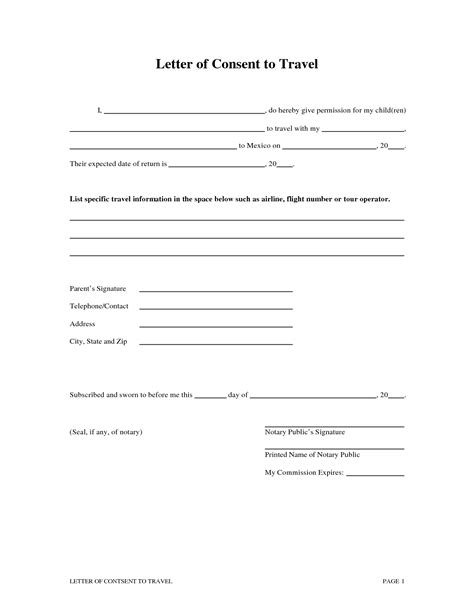 notarized travel consent letter template