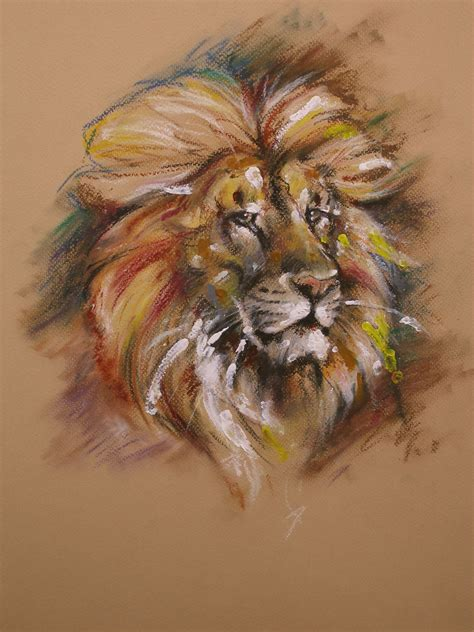 lion oil pastel  repaul  deviantart