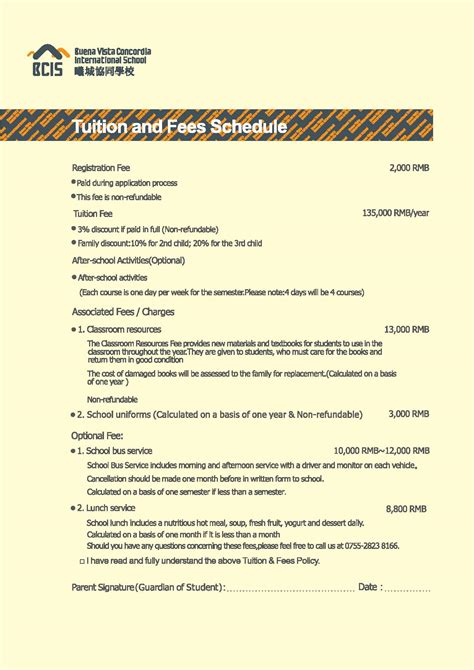 bcis tuition fees